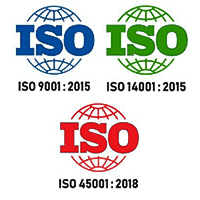 ISO 9001 ISO 14001 ISO 45001 Logo Petrostrat Accreditation Certified