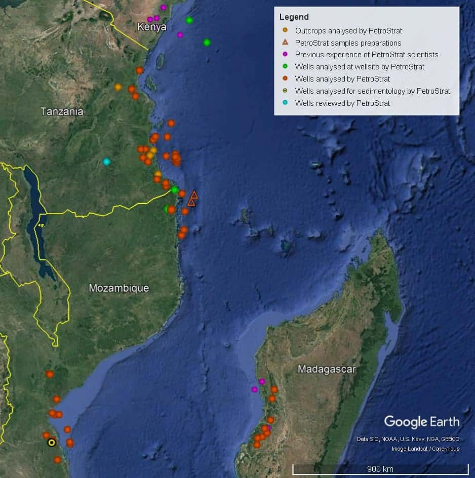 Petrostrat East Africa Global Biostratigraphy Experience Well Map Mozambique Tanzania Madagascar