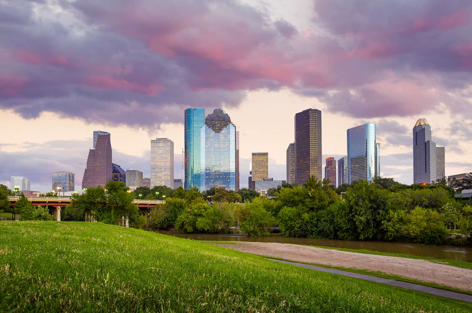 Petrostrat Houston Skyline at Pink Sunset
