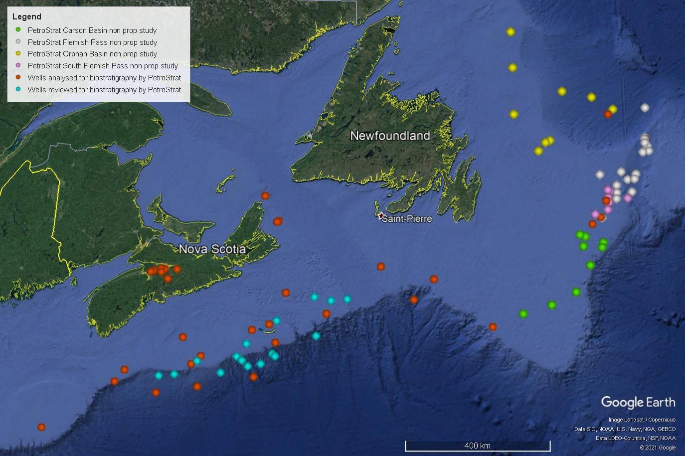 Petrostrat North America Global Biostratigraphy Experience Well Map Canada Newfoundland Nova Scotia Atlantic Margins