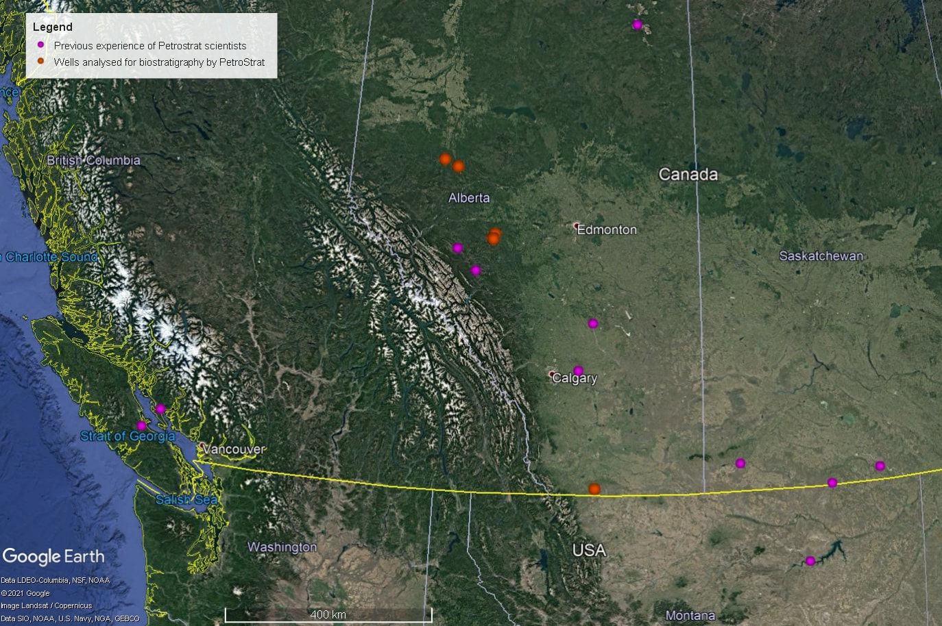 Petrostrat North America Global Biostratigraphy Experience Well Map WesternCanada